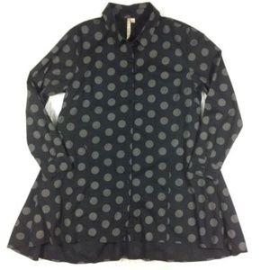 Comfy USA Polka Dot Button Front Tunic Blouse